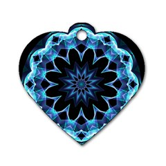Crystal Star, Abstract Glowing Blue Mandala Dog Tag Heart (Two Sided)