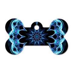 Crystal Star, Abstract Glowing Blue Mandala Dog Tag Bone (one Sided)