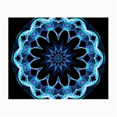 Crystal Star, Abstract Glowing Blue Mandala Glasses Cloth (Small, Two Sided)