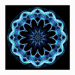Crystal Star, Abstract Glowing Blue Mandala Glasses Cloth (medium, Two Sided)
