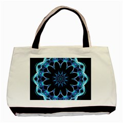 Crystal Star, Abstract Glowing Blue Mandala Twin-sided Black Tote Bag
