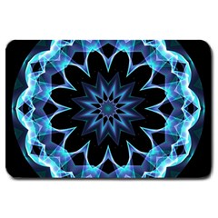 Crystal Star, Abstract Glowing Blue Mandala Large Door Mat