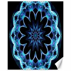 Crystal Star, Abstract Glowing Blue Mandala Canvas 11  x 14  (Unframed)
