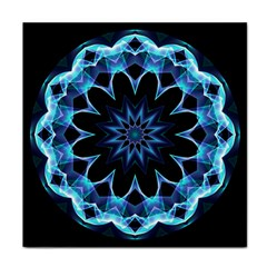Crystal Star, Abstract Glowing Blue Mandala Face Towel