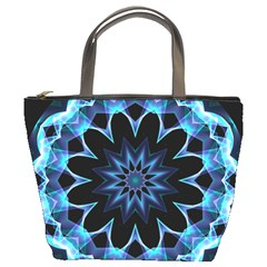 Crystal Star, Abstract Glowing Blue Mandala Bucket Handbag