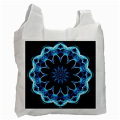 Crystal Star, Abstract Glowing Blue Mandala White Reusable Bag (two Sides)