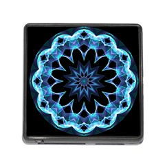 Crystal Star, Abstract Glowing Blue Mandala Memory Card Reader With Storage (square)