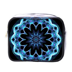 Crystal Star, Abstract Glowing Blue Mandala Mini Travel Toiletry Bag (one Side)