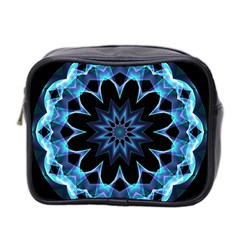 Crystal Star, Abstract Glowing Blue Mandala Mini Travel Toiletry Bag (Two Sides)