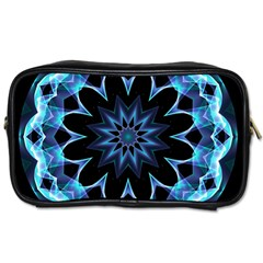 Crystal Star, Abstract Glowing Blue Mandala Travel Toiletry Bag (Two Sides)