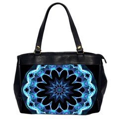Crystal Star, Abstract Glowing Blue Mandala Oversize Office Handbag (two Sides)