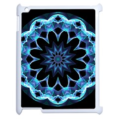 Crystal Star, Abstract Glowing Blue Mandala Apple iPad 2 Case (White)