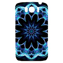 Crystal Star, Abstract Glowing Blue Mandala HTC Sensation XL Hardshell Case