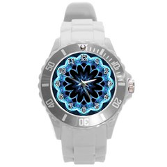 Crystal Star, Abstract Glowing Blue Mandala Plastic Sport Watch (Large)