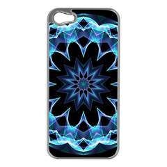 Crystal Star, Abstract Glowing Blue Mandala Apple Iphone 5 Case (silver)