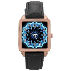 Crystal Star, Abstract Glowing Blue Mandala Rose Gold Leather Watch