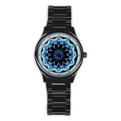 Crystal Star, Abstract Glowing Blue Mandala Sport Metal Watch (black)