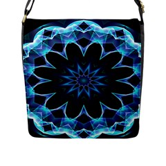 Crystal Star, Abstract Glowing Blue Mandala Flap Closure Messenger Bag (Large)