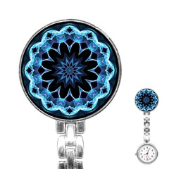 Crystal Star, Abstract Glowing Blue Mandala Stainless Steel Nurses Watch