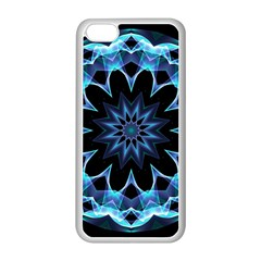 Crystal Star, Abstract Glowing Blue Mandala Apple iPhone 5C Seamless Case (White)