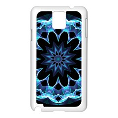 Crystal Star, Abstract Glowing Blue Mandala Samsung Galaxy Note 3 N9005 Case (White)