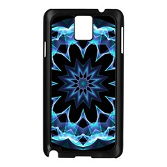 Crystal Star, Abstract Glowing Blue Mandala Samsung Galaxy Note 3 N9005 Case (black)