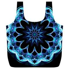 Crystal Star, Abstract Glowing Blue Mandala Reusable Bag (xl)