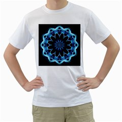 Crystal Star, Abstract Glowing Blue Mandala Men s T-Shirt (White)