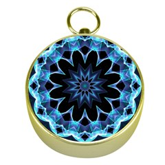 Crystal Star, Abstract Glowing Blue Mandala Gold Compass