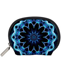 Crystal Star, Abstract Glowing Blue Mandala Mini Zipper Pouch