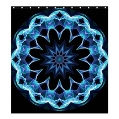 Crystal Star, Abstract Glowing Blue Mandala Shower Curtain 66  x 72  (Large)