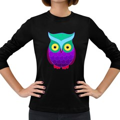 Groovy Owl Women s Long Sleeve T-shirt (Dark Colored)