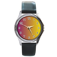 Tainted  Round Leather Watch (Silver Rim)
