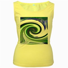 Abstract Waves Women s Tank Top (Yellow)