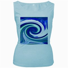 Abstract Waves Women s Tank Top (Baby Blue)