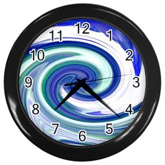 Abstract Waves Wall Clock (Black)