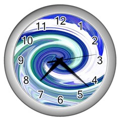 Abstract Waves Wall Clock (Silver)