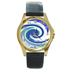 Abstract Waves Round Leather Watch (Gold Rim)