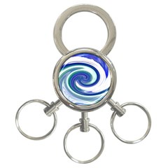 Abstract Waves 3 Ring Key Chain