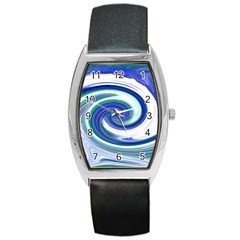 Abstract Waves Tonneau Leather Watch