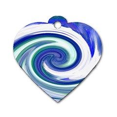 Abstract Waves Dog Tag Heart (one Sided)