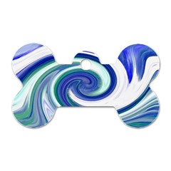 Abstract Waves Dog Tag Bone (Two Sided)