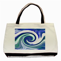 Abstract Waves Twin Sided Black Tote Bag