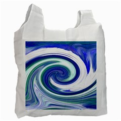 Abstract Waves White Reusable Bag (One Side)