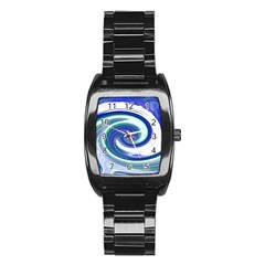 Abstract Waves Stainless Steel Barrel Watch