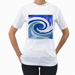 Abstract Waves Women s T-Shirt (White)