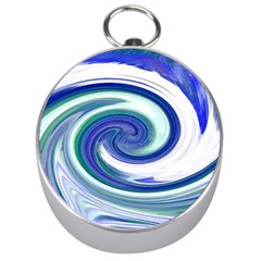 Abstract Waves Silver Compass