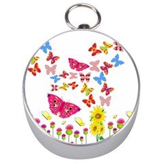 Butterfly Beauty Silver Compass