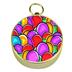 Colored Easter Eggs Gold Compass