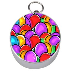 Colored Easter Eggs Silver Compass